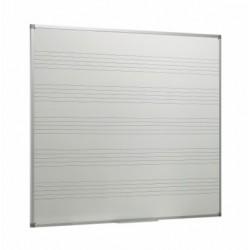 Pizarra blanca laminada con 5 pentagramas y marco de aluminio
