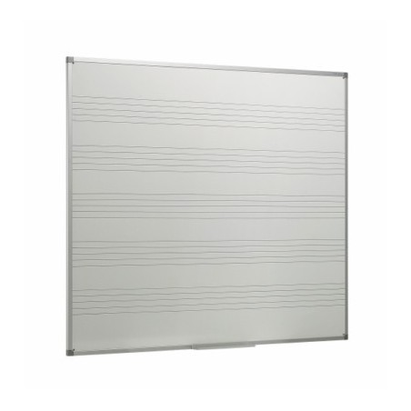 Pizarra blanca acero vitrificado con con 5 pentagramas y marco de aluminio