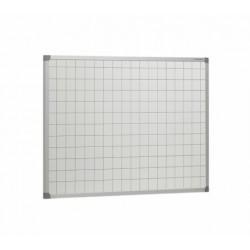 Pizarra blanca acero vitrificado con cuadrícula de 5 cm y marco de aluminio