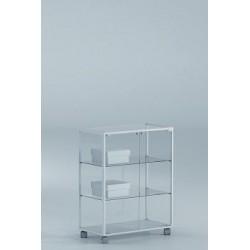 Vitrina 90x71x37 cm aluminio blanco y vidrio Ref. E4-V110