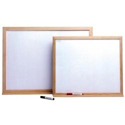 Pizarra blanca con marco y repisa de madera (serie Basic Board Infantil)