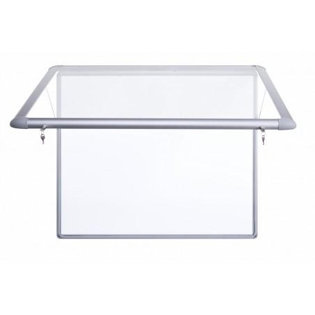 Vitrina Eco-150 con puerta elevable para exterior (fondo de metal blanco)