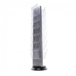 Torre expositora giratoria con portafolletos A4 a 3 caras