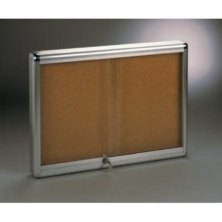 Vitrina V-2000 aluminio plata plata puertas correderas (fondo corcho)