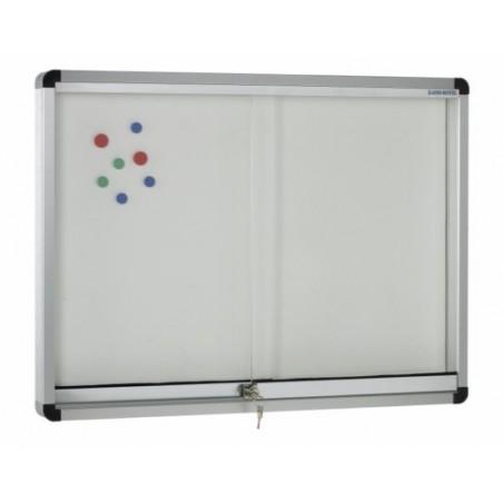 Vitrina convencional aluminio puertas correderas (fondo acero lacado blanco)