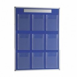 Panel portafolletos mural 90x120 con 9 portafolletos A4 (tapizado azul)
