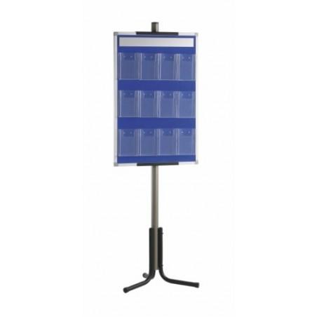Panel portafolletos con 12 portafolletos 1/3 A4 con pie 60x190 (tapizado azul)