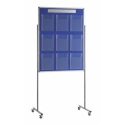 Panel portafolletos con 9 portafolletos A4 con soportes con ruedas 90x190 (tapizado azul)