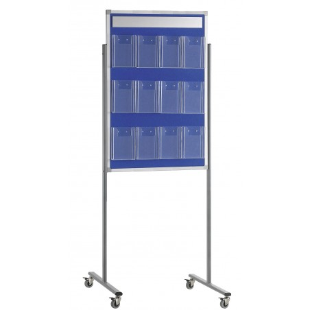 Panel portafolletos con 12 portafolletos 1/3 A4 con soportes con ruedas 60x190 (tapizado azul)
