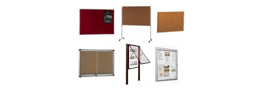 Tableros, vitrinas de anuncios, placas y bobinas de corcho